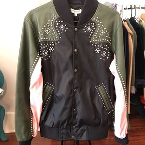 Studded leather/nylon Opening Ceremony bomber